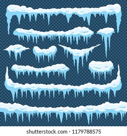 Cartoon snow icicles. Icicle ice with snowcap on top. Winter snowing borders for christmas cards design. Frost neve snowy weather frames, icy frosted frozen sign vector isolated icons set