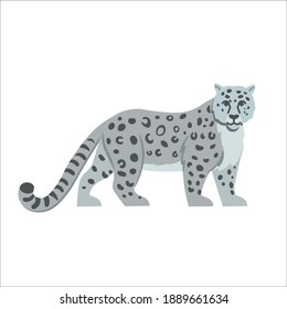 Cartoon Snow Leopard on a white background.Flat cartoon illustration for kids.