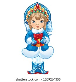 Cartoon Snow Maiden Snegurochka holds a box with a gift. Traditional Russian Christmas and New Year character. Vector illustration on a white background.