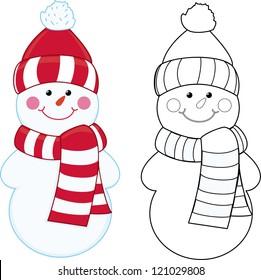 Cartoon snowman. Coloring book.