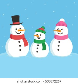 Cartoon snowman family illustration. Mom, dad and child. Cute Christmas greeting card.