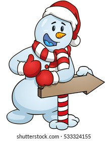 Cartoon snowman giving the thumbs up standing behind a sign arrow. Vector clip art illustration with simple gradients.