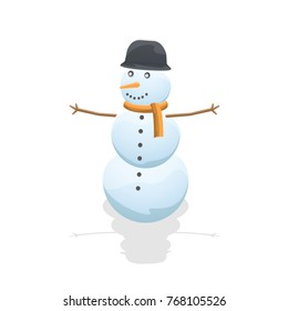 Cartoon Snowman Isolated on White  Background. Vector Snow Man with Shadow. Winter Vector Illustration. Web Icon. Flat style.