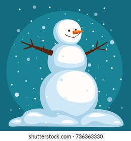 Cartoon Snowman on sky background under the snow. The bigfoot stands in the snow. smiling snowman with open arms. vector illustration