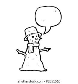 cartoon snowman with speech bubble