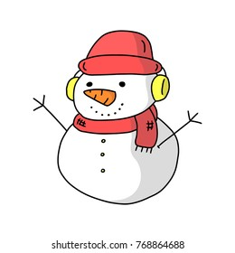 Cartoon Snowman wearing a hat and a red scarf,Hand drawn,Vector,Illustrations.