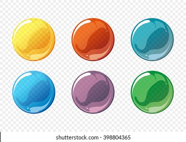 Cartoon soap bubble set. Circle, sphere, ball transparent, glossy. Vector illustration