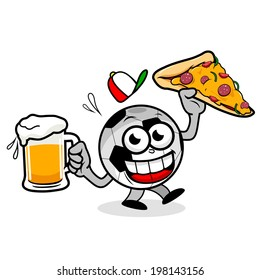 A cartoon soccer ball holding a cold beer and a pizza slice.