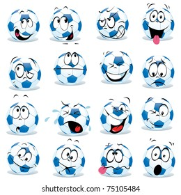 cartoon soccer ball with many expressions