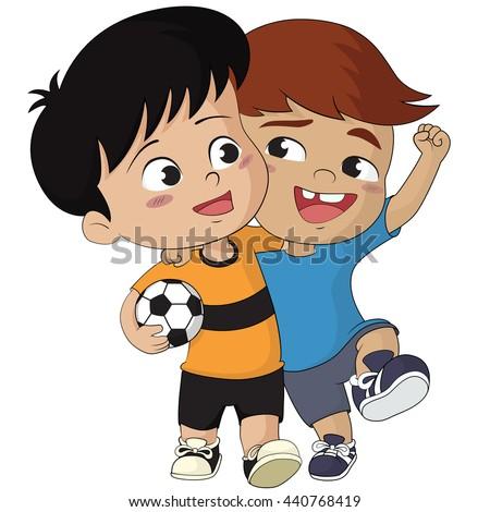 cartoon soccer kids friendly kid walking stock vector royalty free