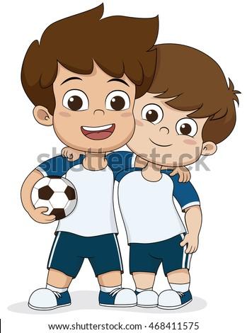 cartoon soccer kids friendly kid vector illustration stock vector