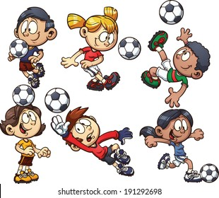 Cartoon soccer kids. Vector clip art illustration with simple gradients. Each on a separate layer.