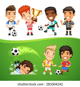 Cartoon Soccer Players and Referee for Your Football Project