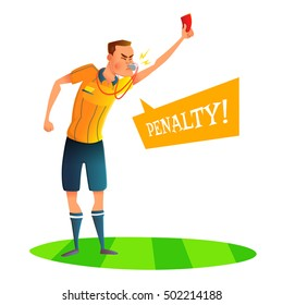 Cartoon soccer referee character design. Judge showing red card. Vector illustratio