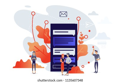 Cartoon social communication concept with people chatting, sending messages within digital screens with internet applications, trees and abstract shapes on background. Vector illustration