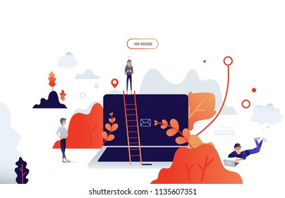 Cartoon social communication concept with people from big laptop chatting, sending messages within people trees and abstract shapes on background. Vector illustration