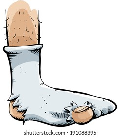 A cartoon sock with a couple of holes in it.