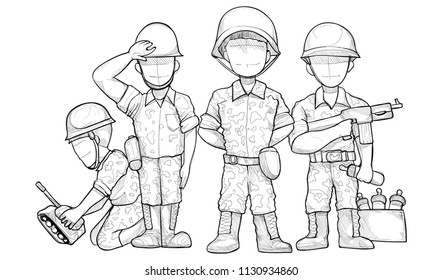 Cartoon Soldier characters group. vector illustration. drawing vector