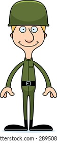 A cartoon soldier man smiling.