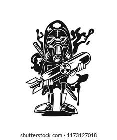 Cartoon soldier with nuclear weapon. Isolated on white vector illustration.