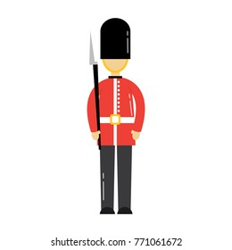 cartoon soldier of a queen guard royal in traditional uniform