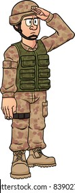 Cartoon soldier saluting. Vector illustration with simple gradients. All in a single layer.