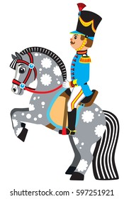 cartoon soldier sitting on a rearing horse . Side view vector illustration for little kids
