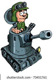 Cartoon soldier in a small tank with a cannon