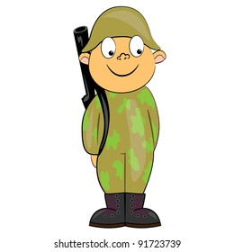 cartoon soldier standing with gun. military man vector character