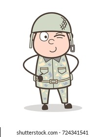 Cartoon Soldier Winking Eye Expression Vector Illustration