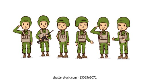 Cartoon soldiers set . Kawaii soldier.