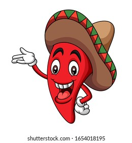 Cartoon sombrero hot chili mascot