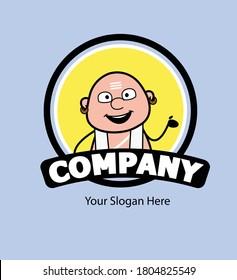 Cartoon South Indian Pandit as Company Logo
