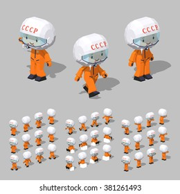 Cartoon soviet cosmonaut minifigure. 3D lowpoly isometric vector illustration. The set of objects isolated against the grey background and shown from different sides