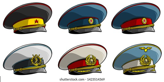 Cartoon soviet military officer peaked cap with red star, anchor and wings on cockade. Isolated on white background. Vector icon set.