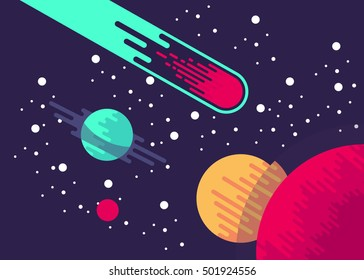 Cartoon space background with bright stars. Night starry sky. Vector illustration.