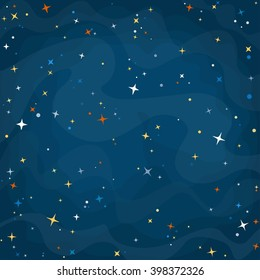 Cartoon space background with colorful stars. Night starry sky. Vector illustration.