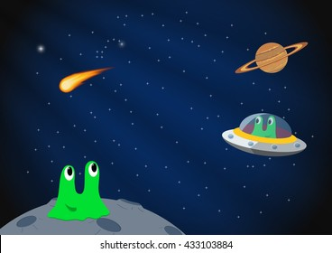 Cartoon space background. Vector illustration
