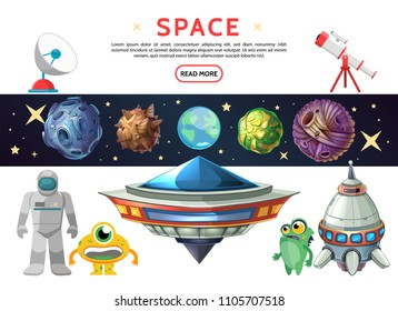Cartoon space composition with Earth planet asteroids meteors cosmonaut ufo spaceship funny extraterrestrials stars telescope satellite dish isolated vector illustration