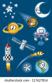 Cartoon space icon set