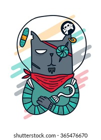 Cartoon space pirate cat