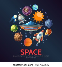 Cartoon space round concept with Earth planet meteors asteroids comets stars spaceships sun ufo isolated vector illustration