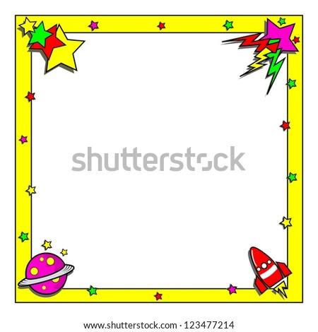 cartoon space theme border frame copy stock vector royalty free