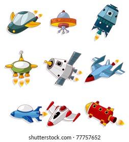 cartoon spaceship icon set