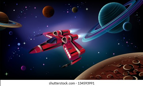 Cartoon spaceship with planets,stars and space background. Vector.