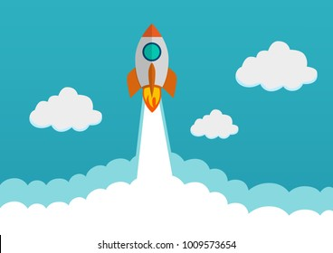 Cartoon spaceship rocket flying over clouds