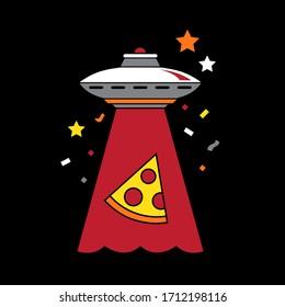Cartoon spaceships vector, pizza, UFO, alien spaceship, funny print