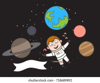 Cartoon Space-Traveler Flying Between Planets Vector Illustration