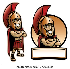 cartoon of spartan army pose and smiling