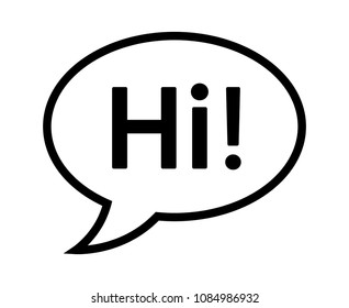 "Cartoon speech bubble or dialogue balloon with the word ""Hi"" greeting line art icon for comic apps and websites"